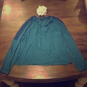 Adorable Teal Blouse With Cute Details